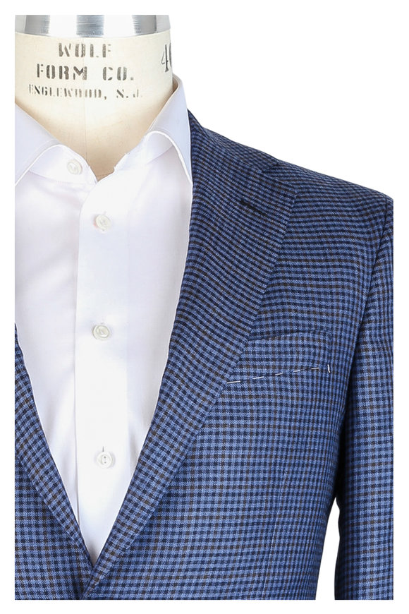 Oxxford Clothes Blue & Brown Check Cashmere & Silk Sportcoat