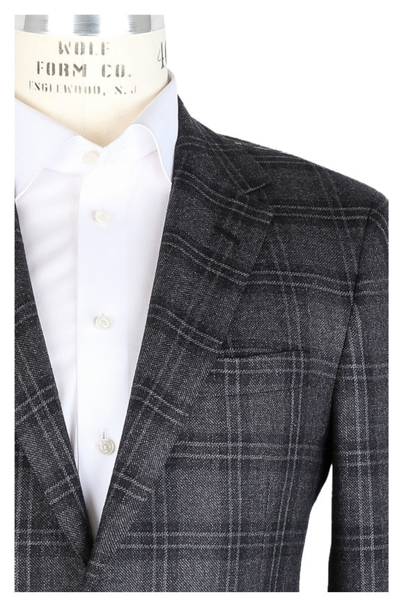 Oxxford Clothes Dark Gray Windowpane Wool Sportcoat
