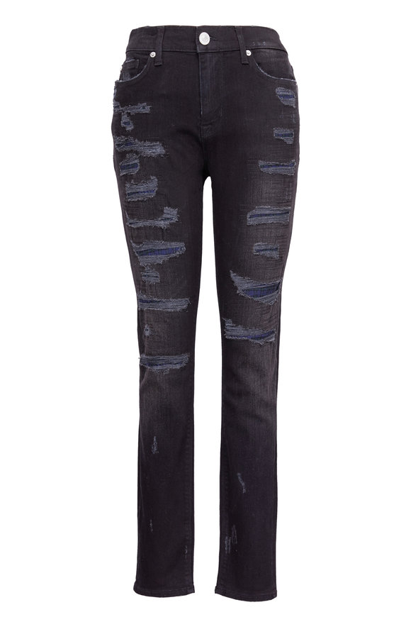 Hudson Clothing Nico Black Mid-Rise Deconstructed Jean