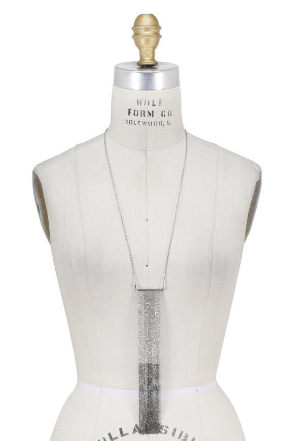 Brunello Cucinelli Silver Ombre Fringe Ball Chain Necklace