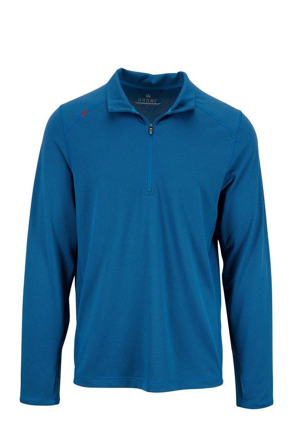 Rhone Apparel Sequoia Sea Blue Performance Quarter-Zip Pullover