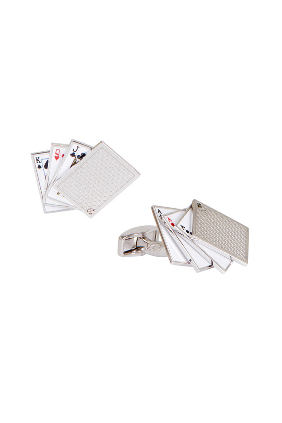 Tateossian Silver Deck-of-Cards Cuff Links