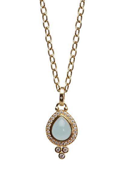 Temple St. Clair - Yellow Gold Aqua Pavé-Set Diamond Halo Pendant