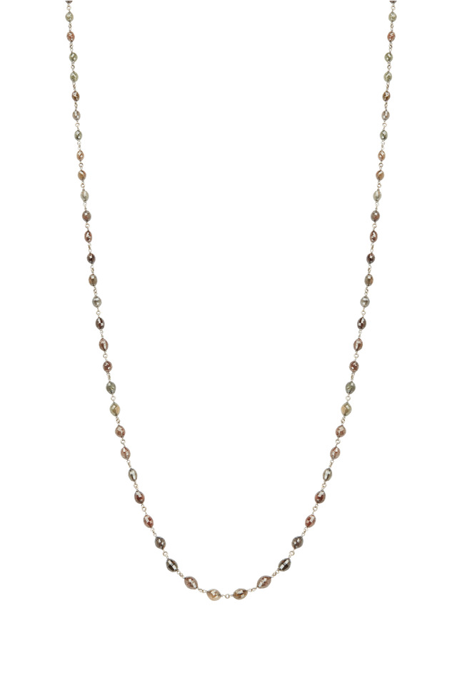 18K Yellow Gold Diamond Bead Necklace