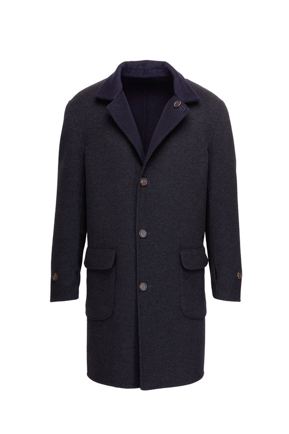 Brunello Cucinelli Charcoal Grey & Navy Cashmere Reversible Topcoat