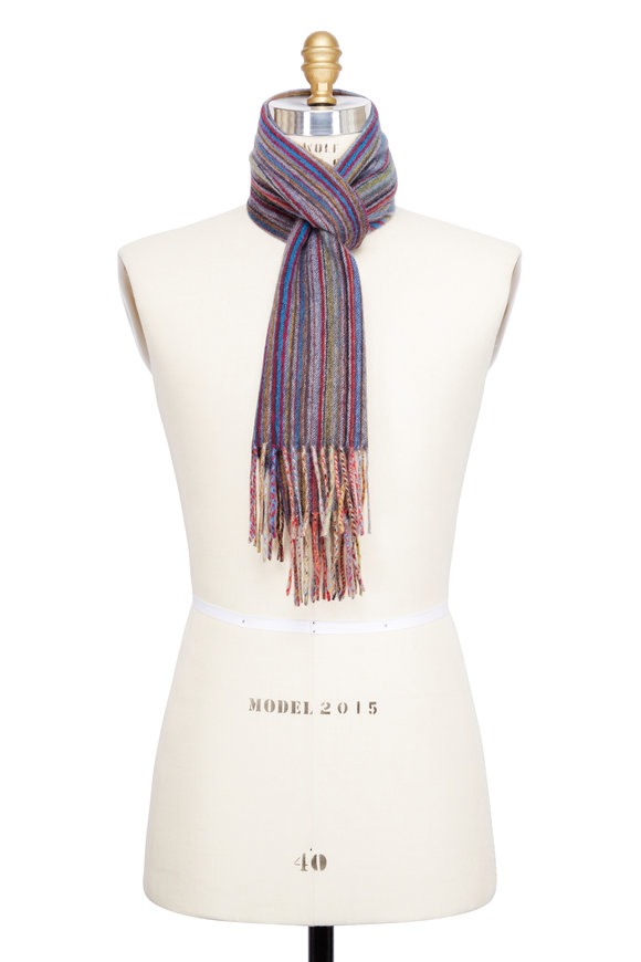 Paul Smith Grey Signature Striped Cashmere Scarf