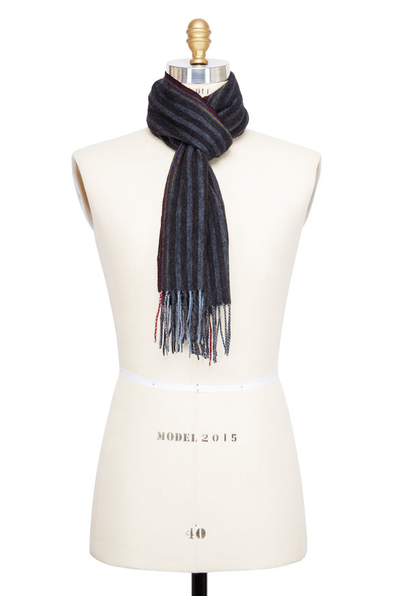 Paul Smith Black & Gray striped Wool & Cashmere Scarf