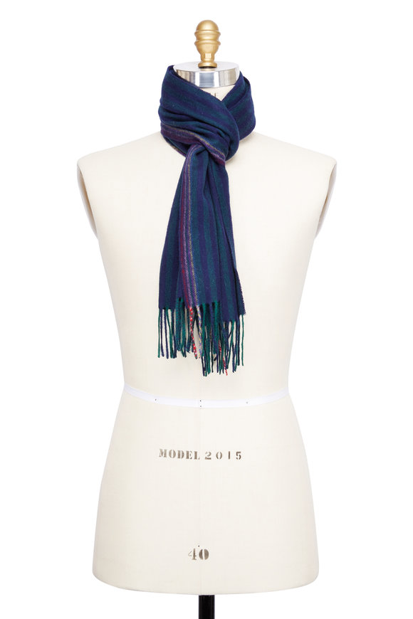 Paul Smith Grey Multicolor Striped Wool & Cashmere Scarf