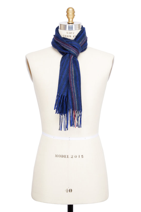 Paul Smith Cobalt & Navy Striped Wool & Cashmere Scarf
