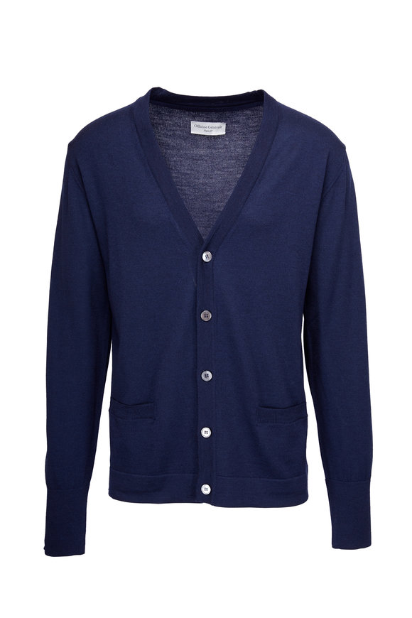 Officine Generale Nina Navy Merino Wool Button Cardigan