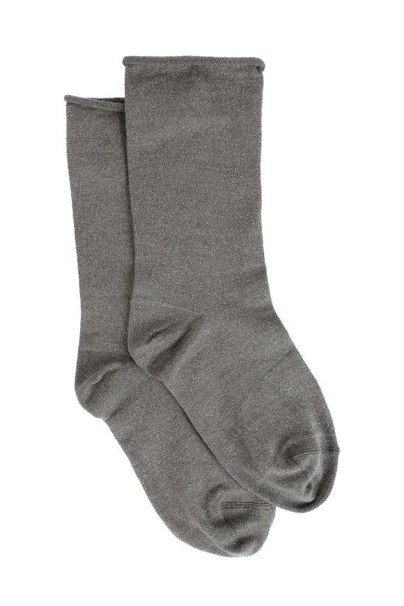 Brunello Cucinelli Mudd Cashmere, Silk & Lurex Metallic Sock