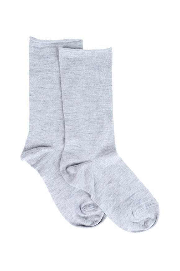Brunello Cucinelli Pebble Cashmere, Silk & Lurex Metallic Sock
