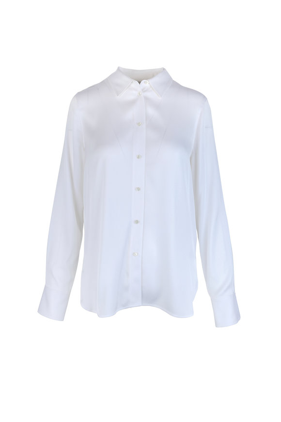Vince White Stretch Silk Blouse