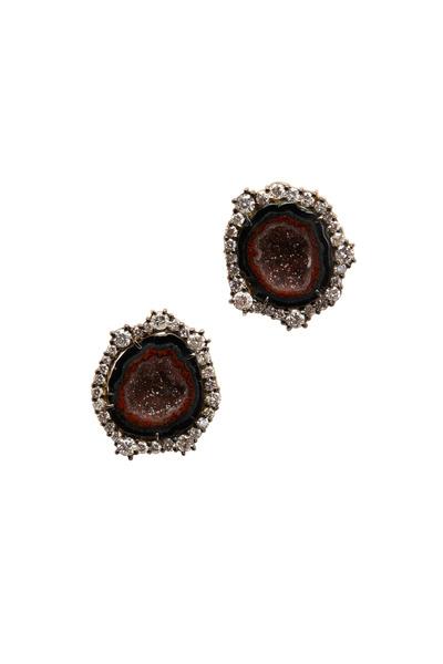 Kimberly McDonald - Yellow Gold Deep Red Geode Diamond Earrings