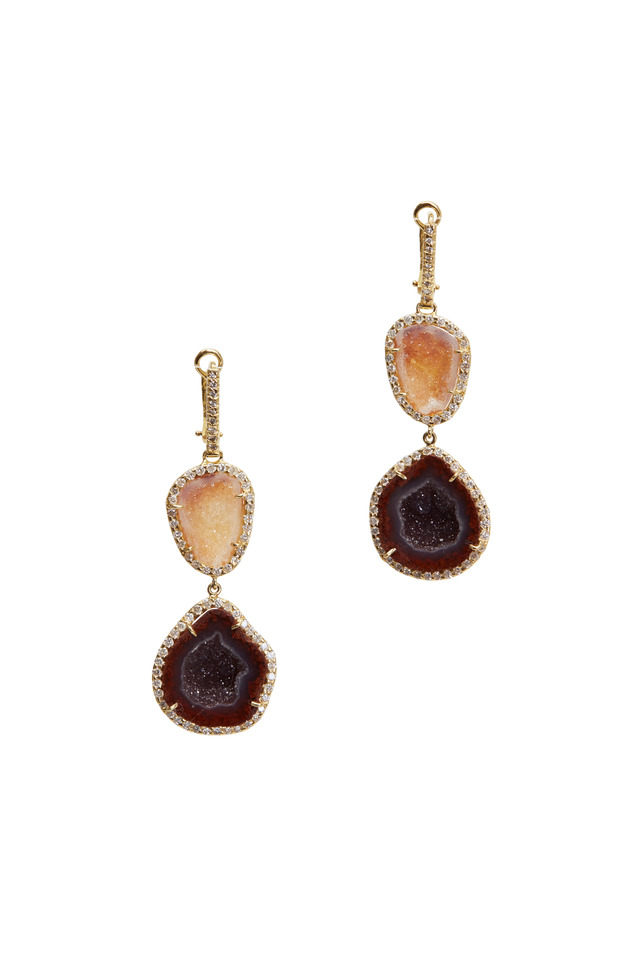 Yellow Gold Double Geode Diamond Earrings