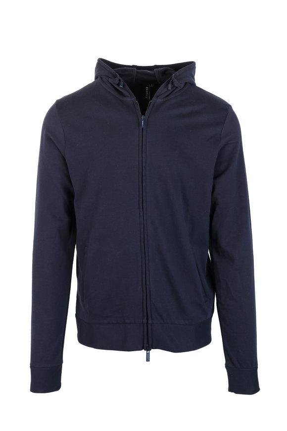 04651/ Navy Blue Cotton Zip Front Hoodie