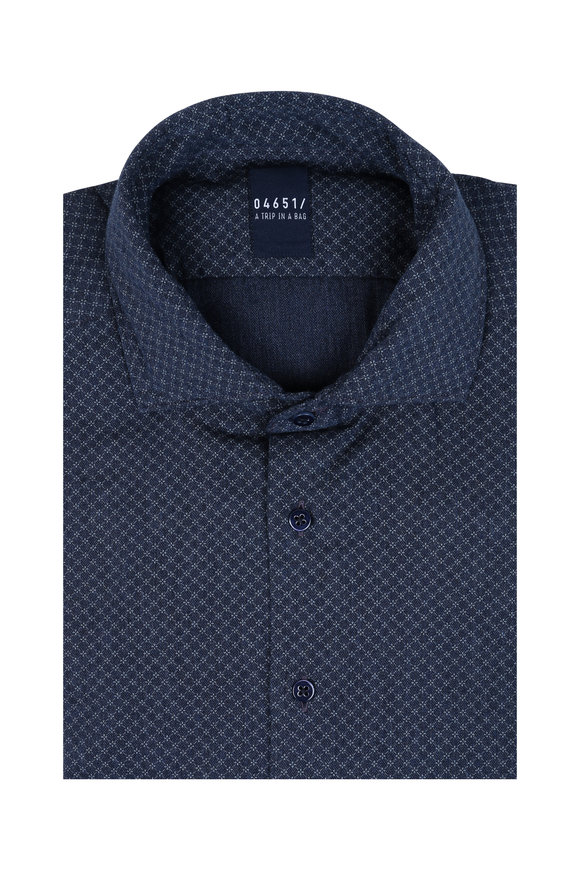 04651 Blue Geo Print Sport Shirt