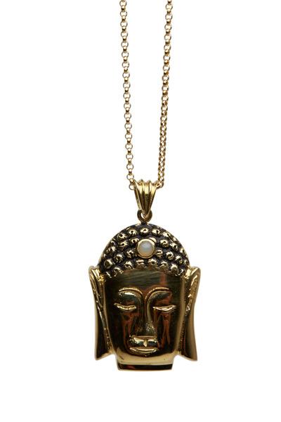 Kimberly McDonald - Yellow Gold Honey Opal Small Buddha Pendant