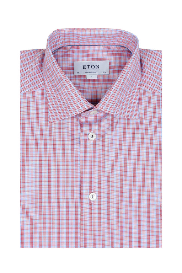 Eton Pink Mini Check Contemporary Fit Dress Shirt