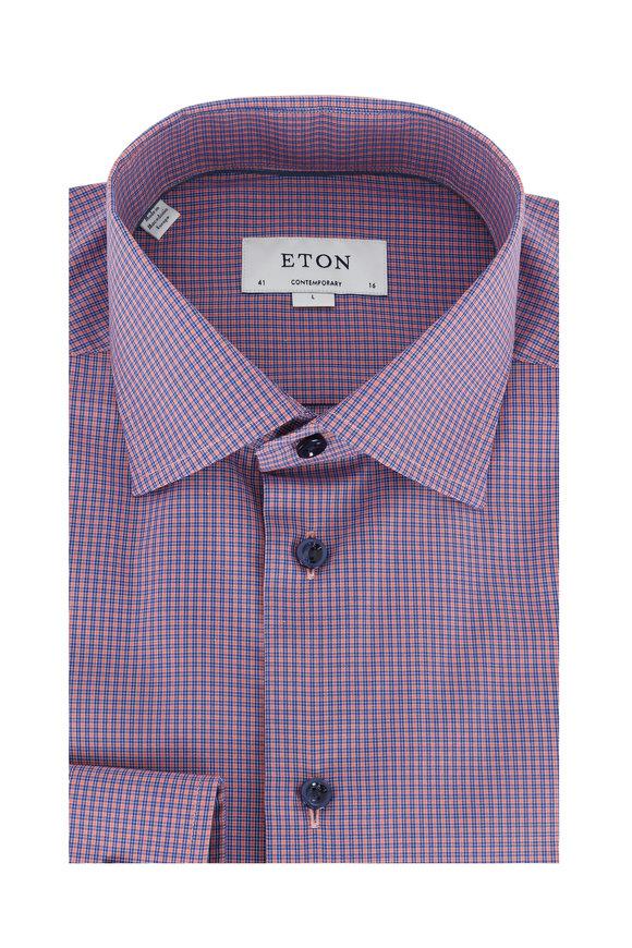 Eton Purple Check Contemporary Fit Sport Shirt