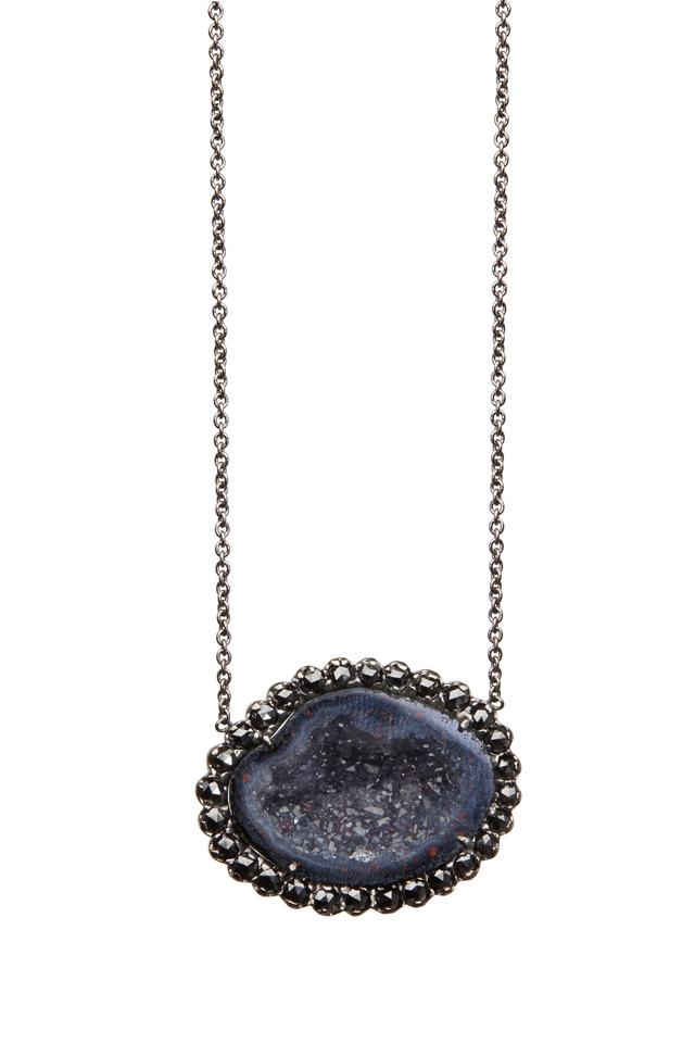 White Gold Dark Geode Black Diamond Pendant