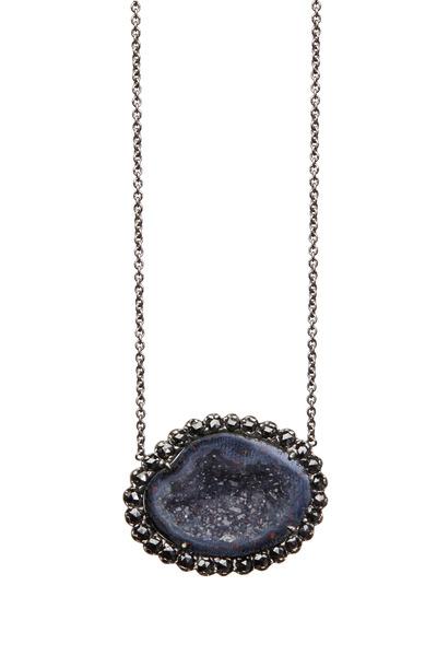 Kimberly McDonald - White Gold Dark Geode Black Diamond Pendant