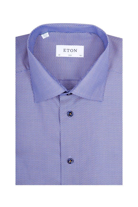 Eton Navy & Multicolor Geometric Slim Fit Dress Shirt