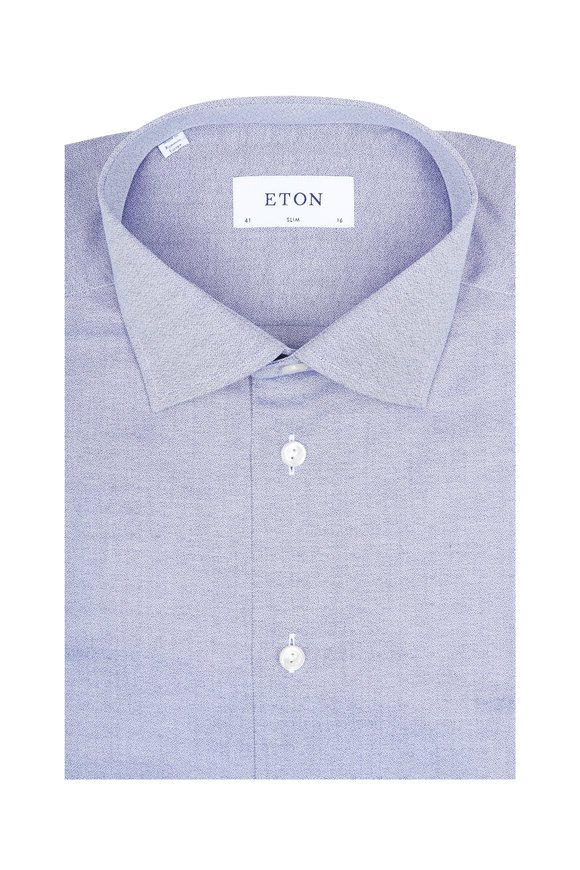 Eton Navy Twill Slim Fit Dress Shirt