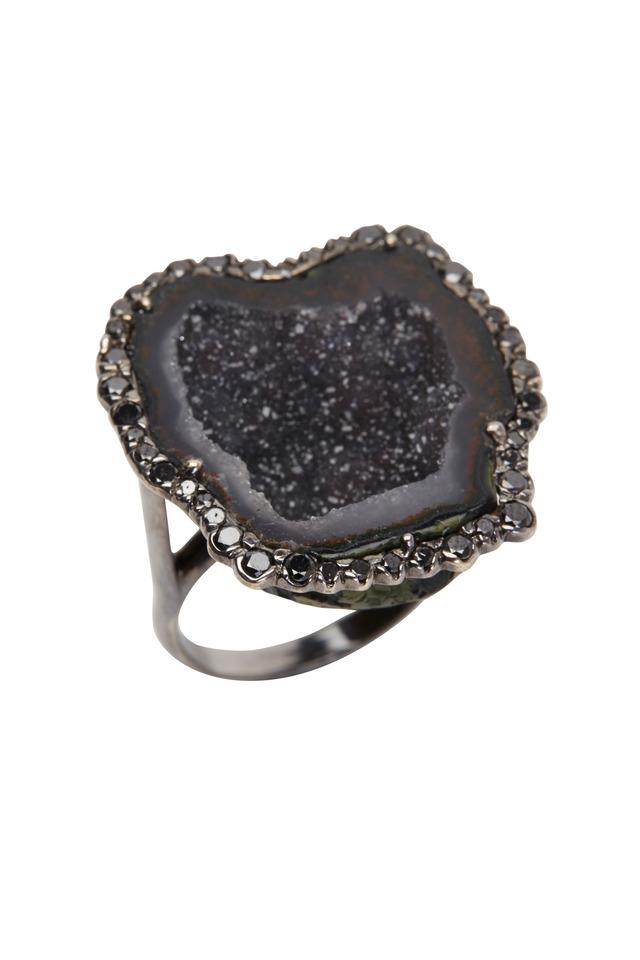 White Gold Black Geode Black Diamond Ring