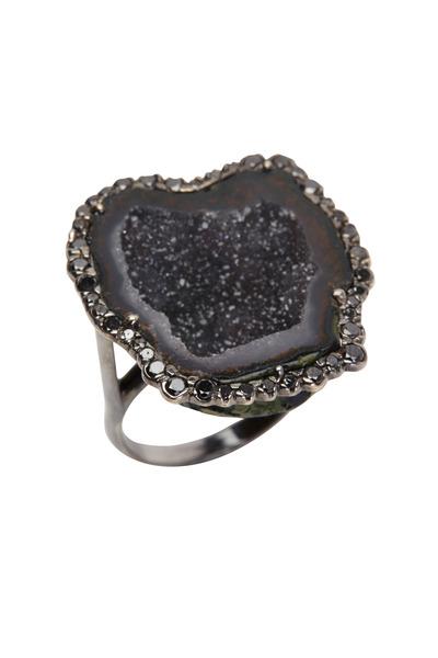 Kimberly McDonald - White Gold Black Geode Black Diamond Ring