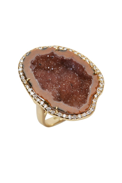 Kimberly McDonald - Yellow Gold Orange Geode Diamond Ring