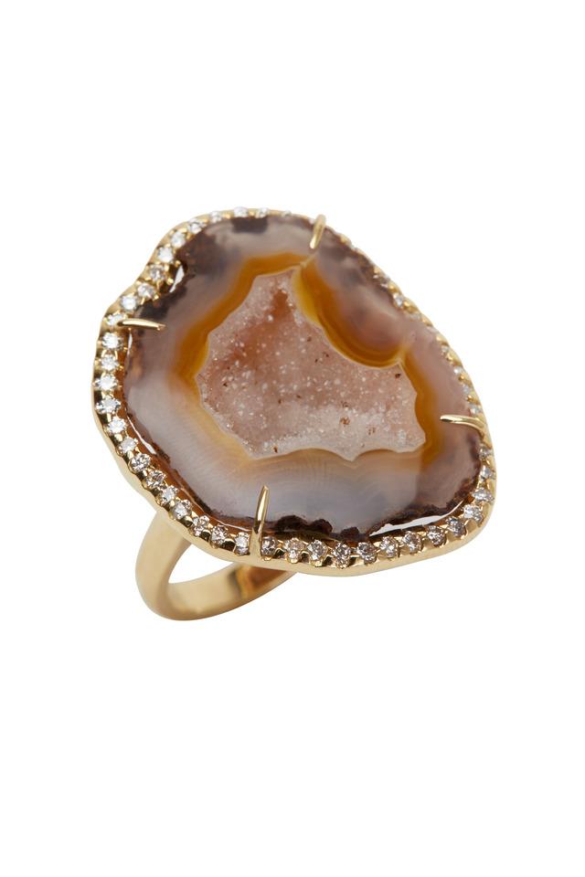Yellow Gold Brown Geode Diamond Ring