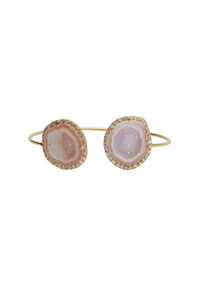 Kimberly McDonald - Yellow Gold Wire Cuff Light Geode Diamond Bracelet