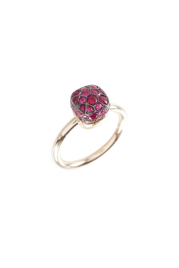 Pomellato 18K White & Rose Gold Ruby Nudo Ring