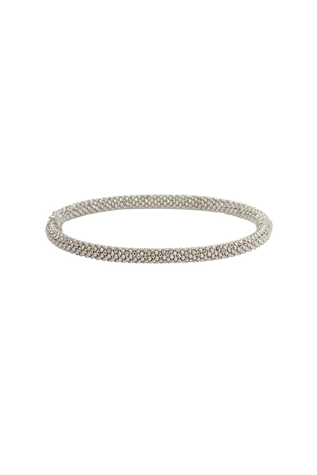 White Gold Slender Bangle Bracelet
