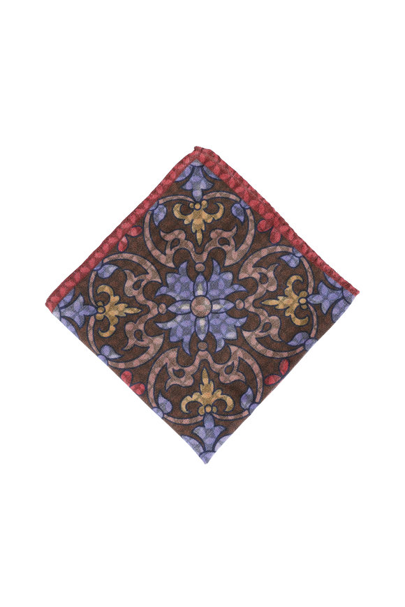Calabrese Rust Floral Wool Pocket Square