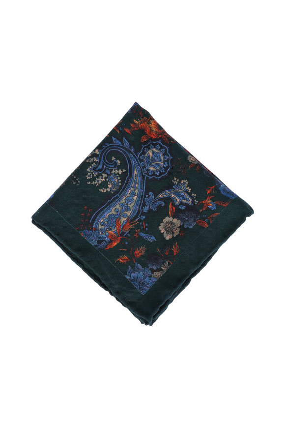 Calabrese Hunter Green Paisley Wool Blend Pocket Square