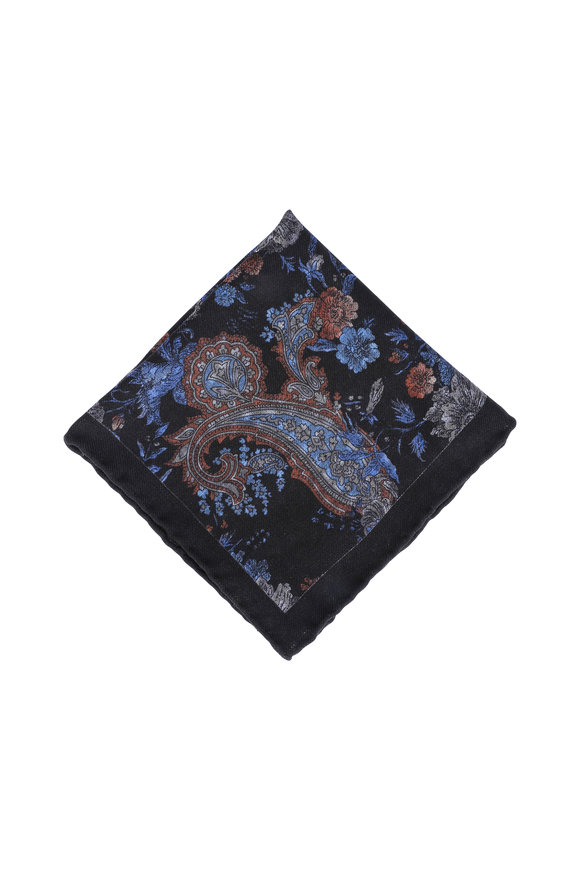 Calabrese Navy Blue Paisley Wool Pocket Square