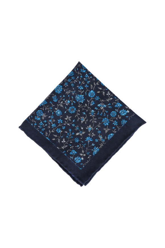 Calabrese Navy Blue Floral Wool Pocket Square