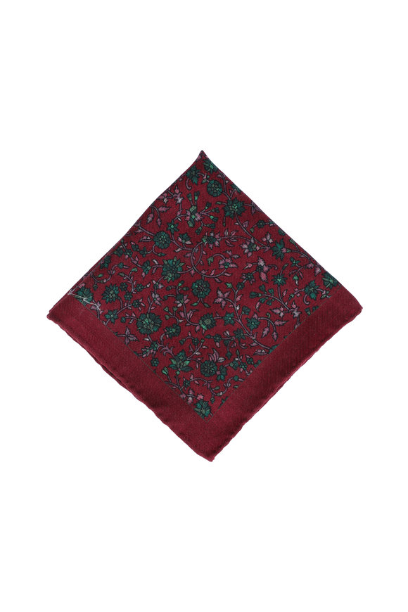 Calabrese Red Floral Wool Pocket Square
