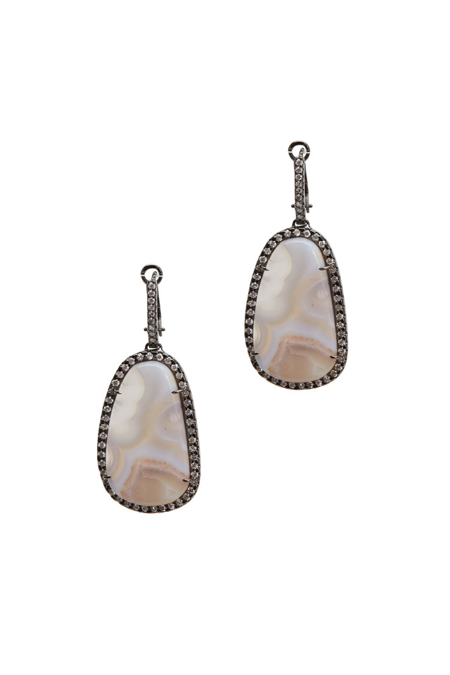 White Gold Agate & Diamond Earrings