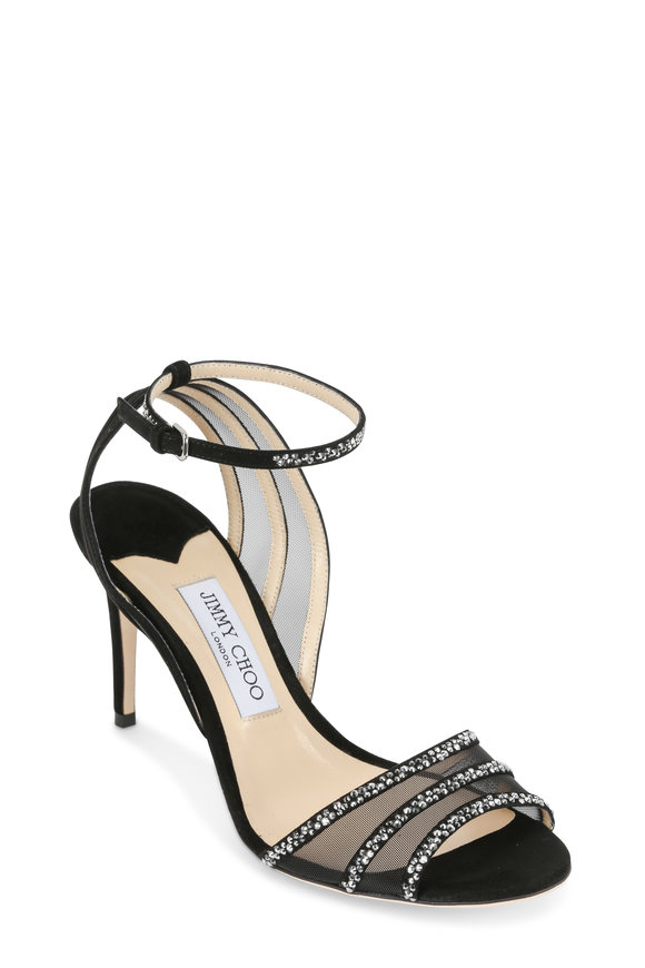 Jimmy Choo Betty Black Suede & Crystal Sandal, 85mm