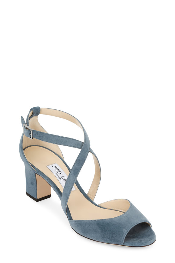 Jimmy Choo Carrie Dusk Blue Suede Criss-Cross Sandal, 65mm