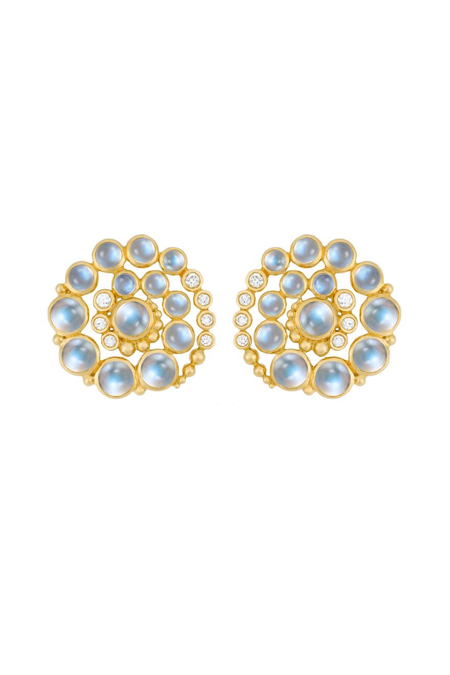 Gold Blue Moonstone & Diamond Spiral Earrings