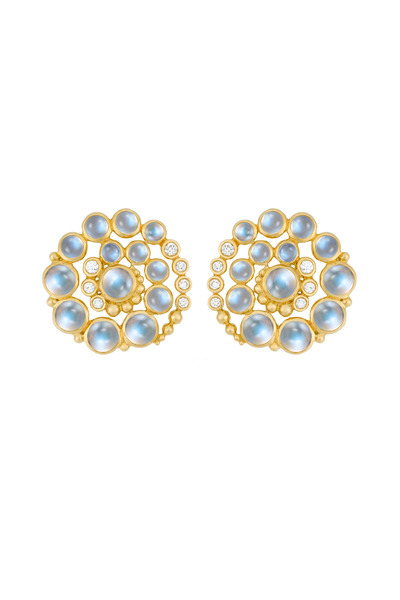 Temple St. Clair - Gold Blue Moonstone & Diamond Spiral Earrings