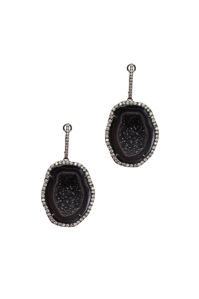 White Gold Dark Geode White Diamond Earrings