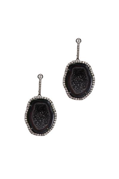 Kimberly McDonald - White Gold Dark Geode White Diamond Earrings