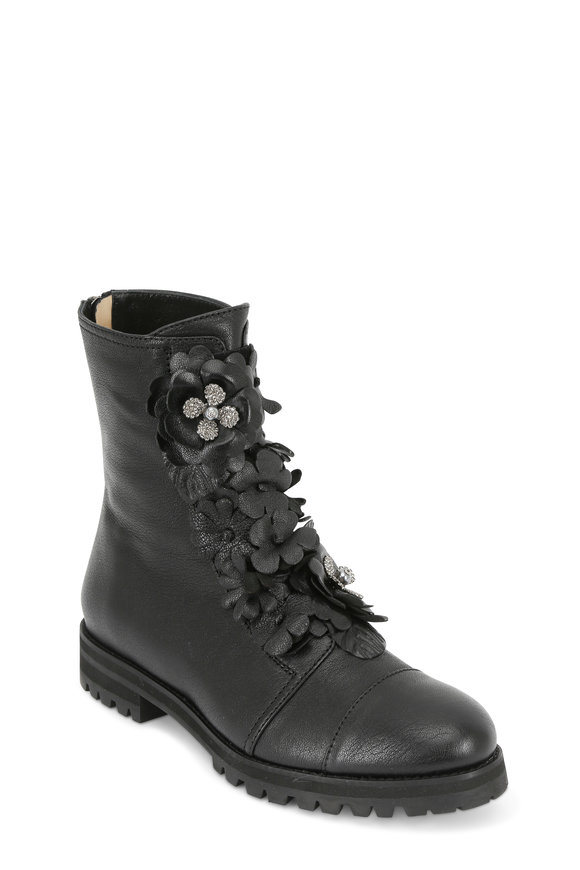 Jimmy Choo Havana Black Leather Floral Appliqué Combat Boot