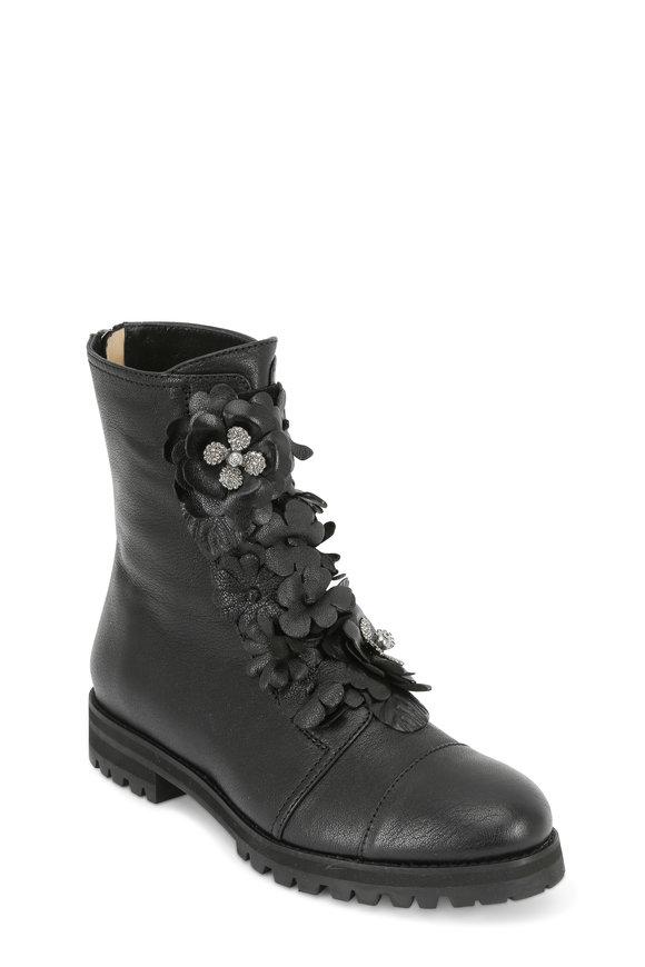 Jimmy Choo Havana Black Leather Floral Appliqué Combat Boot