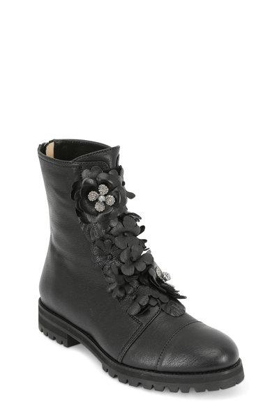 Jimmy Choo - Havana Black Leather Floral Appliqué Combat Boot